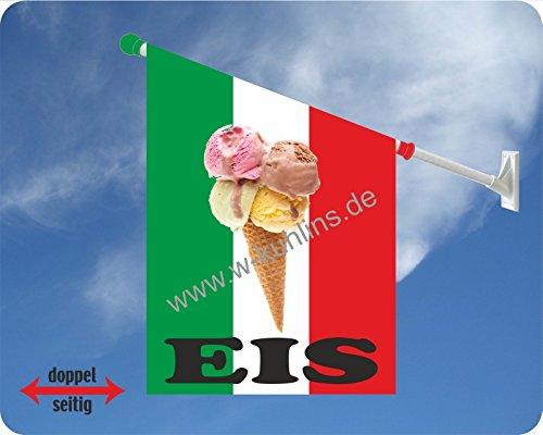 Werbeflagge, Werbefahne, Eisflagge, Eisfahne - Eis, Softeis - Ideal für Eiscafé, Restaurant oder Kirmes, versch. Varianten, weiß (Eis in Waffel italienisch)