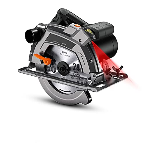 Circular Saw 12.5A,7-1/4' & 7-1/2' Two Blades, Electric Circular Saw, 5000 RPM, 0-45° Bevel Cuts, 0°:2-3/5'', 45°:1-7/10'',Scale Ruler, Laser Guide, Iron Base - PES03A