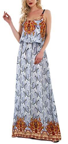 Kormei Damen Sommerkleid Ärmellos Boho A-Line Lang Kleid Maxikleid Party Strandkleid Blau#7 S