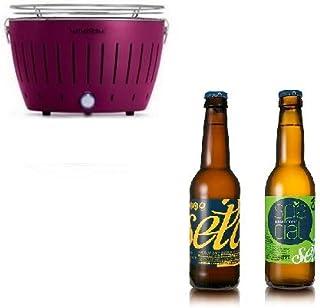 LotusGrill - Nuevo Modelo 2019 - Barbacoa (Mod. Mini Ø 25,8 cm) Lila con baterías y Cable de alimentación USB + 2 Cervezas artesanales Birrificio Rurale - ¡Paquete Exclusivo de YesEatIs!