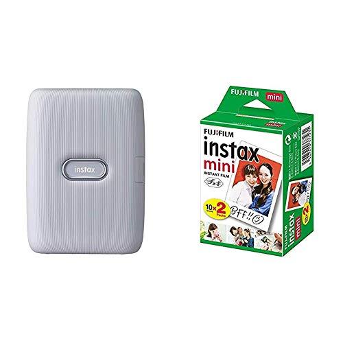 FUJIFILM チェキ スマホプリンター instax mini Link アッシュホワイト INS MINI LINK ASH WHITE + FUJIFILM インスタントカメラ チェキ用フィルム 20枚入 INSTAX MINI JP 2