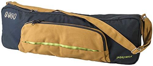 Jade Yoga - Khaya Mat Bag - Organic Cotton Mat Carrier with Adjustable Shoulder Strap (Color: Black/Caramel)
