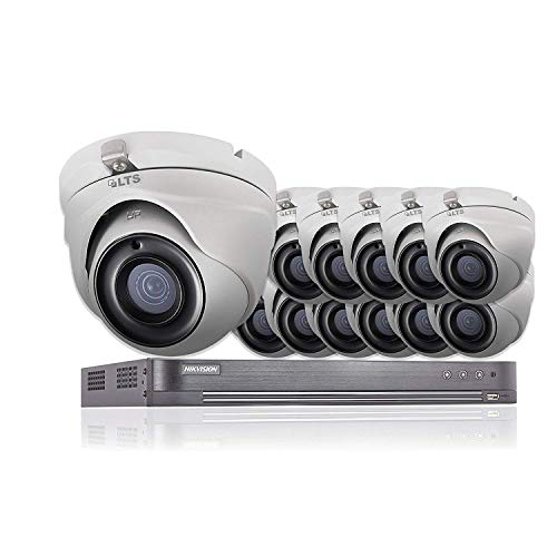 16 CH Hikvision 5 MP CCTV Sistema de Seguridad 12 x LTS Cámaras CMHT1352N 4K Resolución DS-7216HUHI/K2 DVR + 2 TB HDD (Full Kit + 12 cámaras + 2 TB)