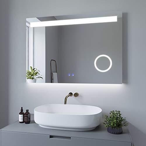AQUABATOS 100x70 cm Badspiegel mit Beleuchtung Badezimmerspiegel Lichtspiegel LED Wandspiegel. Touch-Schalter Dimmbar + Kaltweiß 6400K + Warmweiß 3000K + Spiegelheizung + Schminkspiegel + IP44 + CE