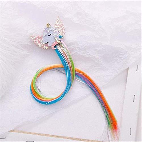 Child Twist Hair Clip Simple Barrette Butterfly Unicorn Hair Rope Accessories Kids Wig Rope Hair Head Wear 40cm unicorn F
