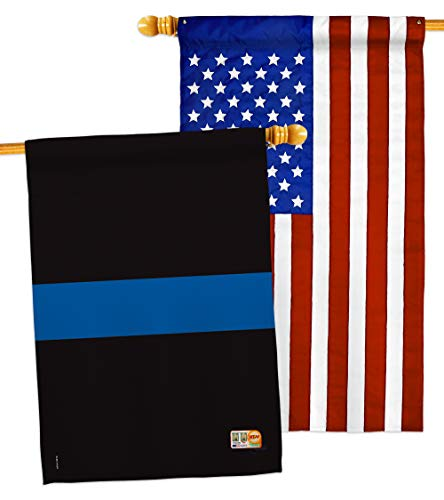 Breeze Decorbreeze Decor Blue Stripe House Flag Pack Armed Forces Police Cop Law Enforcement Sheriff Officer Line Support Applique Decoration Banner Small Garden Yard Gift Double Sided 28 X 40 Made In Usa