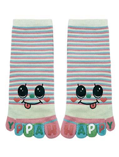 sourcingmap® Kinder Knöchel Länge Streifen Buchstabe Lächelgesicht Zehe Socken Gr. 8-9,5 Grün