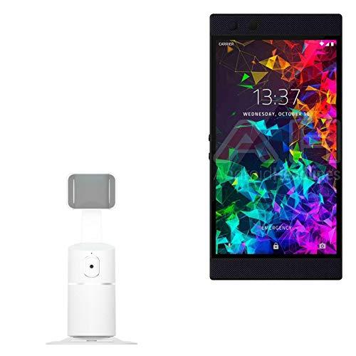 Suporte e suporte Razer Phone 2, BoxWave [PivotTrack360 para selfie], suporte giratório para rastreamento facial para Razer Phone 2 – Branco inverno