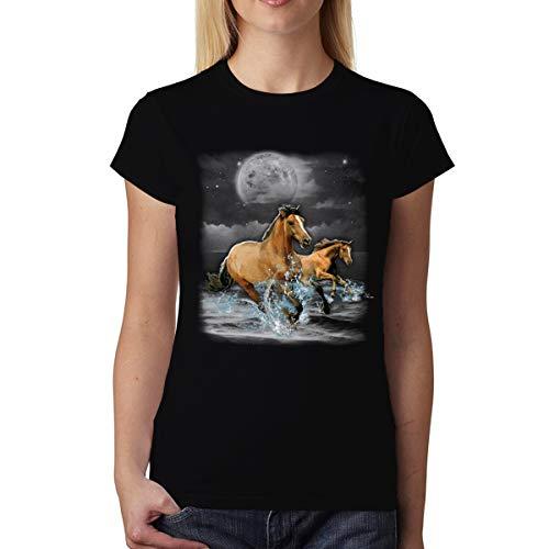 avocadoWEAR Caballos Marrones Oceano Luna Mujer Camiseta XS-3XL
