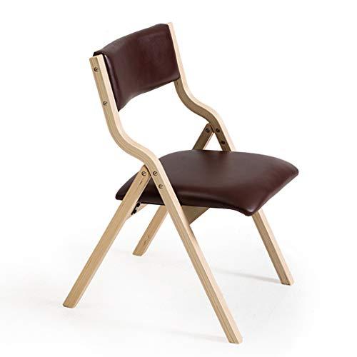 Chaise pliante en bois massif en cuir PU, dossier à la maison Chaise d'ordinateur moderne simple repas Mahjong chaise de bureau (Couleur : B)