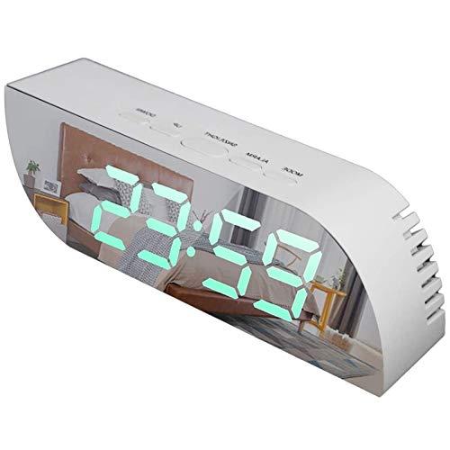 WFSH Reloj de Alarma Digital Inteligente con Espejo 12 / 24H Temperatura Fecha Snooze Dormitorio Grande Relojes LED