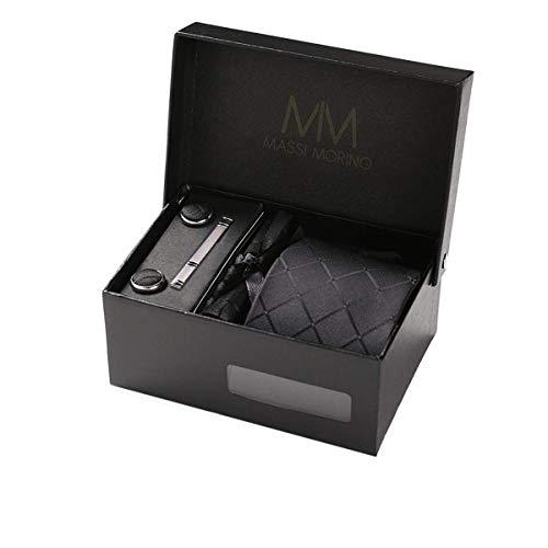 Massi Morino Krawatte mit Einstecktuch Set I inkl. Manschettenknöpfe und Krawattennadel I Herren Geschenkbox (Schwarz Quadrate)