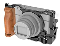 Taoric SONY C-RX100 VII 用 アルミニウム合金 ケースカメラフレーム 木製ハンドルスタビライザー 拡張ブラケット