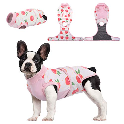 Kuoser Recovery Suit for Dogs Cats After Surgery, Professional Pet Recovery Shirt Dog Abdominal Wounds Bandages, Substitute E-Collar & Cone,Prevent Licking Dog Onesies Pet Surgery Recovery Suit M