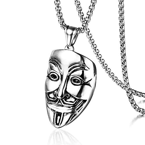 N/A Collar De Acero Inoxidable Americana Estilo Hip-Hop Collar De Mascarilla Colgante Retro V-Vendetta Regalo Parejas Y Amigos