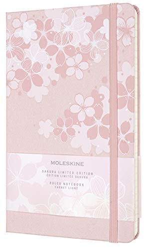 Moleskine - Notebook in Edizione Limitata, Taccuino Sakura Con Grafiche a Tema, Layout a Righe e Copertina Rigida in Tessuto, Formato Large 13 x 21 cm, Colore Rosa Scuro, 240 Pagine