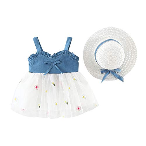 2 Piece Toddler Infant Summer Outfits Baby Girls Fruit Floral Print Princess Dress + Bowknot Wide Brim Sun Hat Sets (White, 2-3 Years)