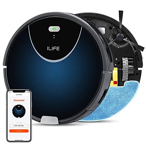 Aspiradora ILIFE V80 Max para robot de fregado, aspiradora y trapeador 2 en 1, conexión Wi-Fi, succión máxima de 2000 Pa, cubo de basura grande de 25.4fl oz, entrada de succión mejorada, camino de limpieza en zigzag, autocarga, ideal para suelos duros