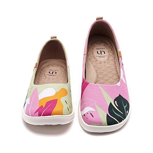 UIN Summer Jungle Damen Sommerdschungel Ballerinas Painted Slip On Schuhe Lässiger Reiseschuhe Segelschuhe Canvas Pink(38)