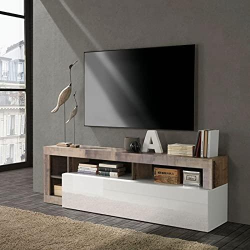 Mueble para TV moderno con puerta abatible color blanco brillante y peral L184