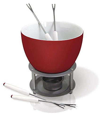 Vin Bouquet FIH 022 - Schokoladen-/Käsefondue aus Keramik, einschließlich Teelicht und vier Spieße, Edelstahlbasis, weiß und rot