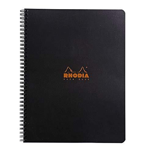 Rhodia Wirebound Notebook 8.8 X11.75 Inches Black Grid, Satin