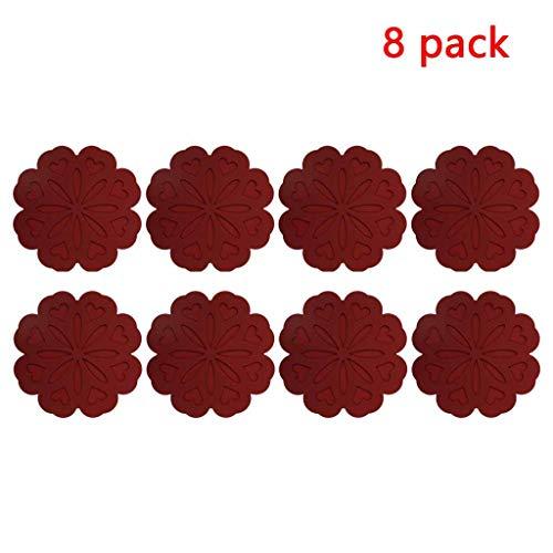 8 Stück Silikon-Isolierung Pad Stativ Bowl Matte Diskpad Potholder Löffelhalter Verbrühungsschutz Handschuhe Blütenform Verbrühungsschutz, rutschfest, flexibel und langlebig (Color : Wine red)