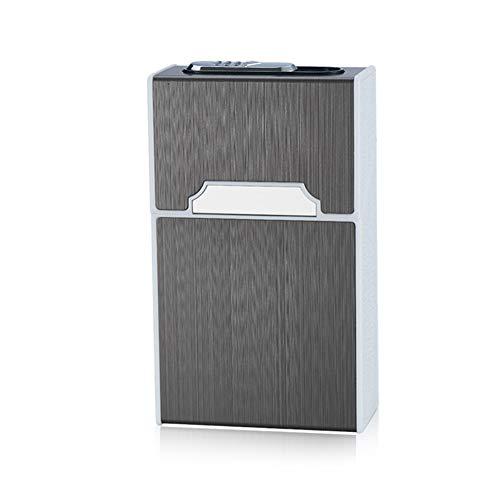Pywee - Pitillera de Aluminio con Tapa magnética, Elegante diseño, Caja de Cigarrillos de Aluminio con mechero electrónico, Recargable (sin Cigarrillos) para Hombre, Mujer, Regalo