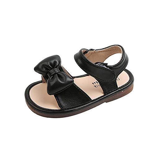 JOEupin Sandalias de playa de verano para niña con suela suave y correa en T (niños pequeños), color Negro, talla 23 EU