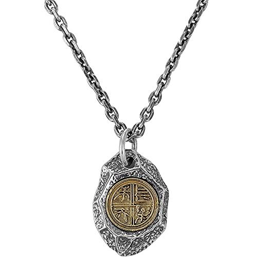 Sxcespp Collar con colgante de piedra en forma de diamante retro para hombre, accesorios de joyería de moda de plata esterlina, joyería étnica retro de 60 cm, accesorios de vestir antialérgicos de tod