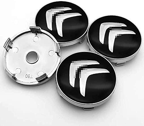 YYHDD 4 Piezas Tapas centrales para Llantas para Citroen C5 C2 C3 C4 C1,Aleación de Aluminio Cubierta Centro Rueda Coche,Tapacubos Logo Insignia Tapa a Prueba de Polvo,Coche Accesorios,60mm