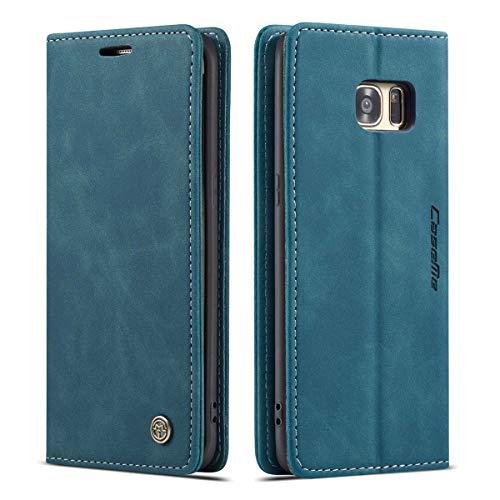 mvced Funda para Samsung Galaxy S7 Edge,Funda Móvil Funda Libro con Tapa Magnética Carcasa,Azúl