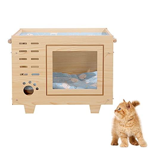 Casa De Gato Televisor De Madera Desmontable, Villa De Refugio para Mascotas Pequeñas Extraíble, Adecuada para Gatos Y Otras Mascotas Pequeñas,Cat Scratch Style