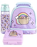 Pusheen Unicorn Lunch Box Mochila Rainbow Rainbow Lunch Set de botellas y botana