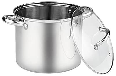 Cook N Home 02527 Stockpot with Lid, 16 quart, Stainless Steel, Large, Silver