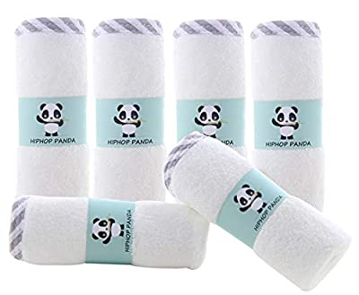 Hypoallergenic Bamboo Baby Washcloths - 2 Layer Ultra Soft Absorbent Bamboo Towel - Newborn Bath & Face Towel - Washcloths for Delicate Skin - Boy Girl Shower Gift (Gray Stripe, 6 Pack) by HIPHOP PANDA