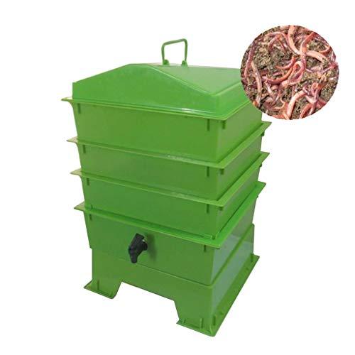 YICO 3Tablett Wurmkompostierbehälter, Wurmfarm zum Recycling von organischen Abfällen in der Gartenküche,Schnelle Einrichtung,Einfache Verwendung, Starter-Kit für Lebende Wurmfarmen (Beige/Grün/Schw)