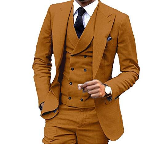 Men's Suit 3-Piece One Button Blazer Jacket Flat Front Pants Wedding Groom Suit for Men Black 44/38