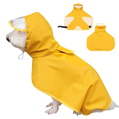 Dociote Hunderegenmantel Hunde Regenjacke wasserdicht mit Kapuze & Bauchschutz für kleine mitelgroße große Hunde Gelb