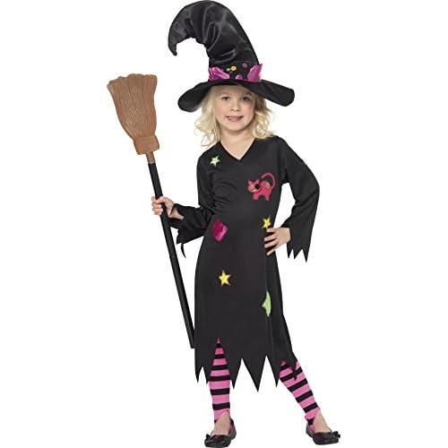 SMIFFYS Costume Streghetta Cenerentola, Nero, comprende Abito, Cappello e Collant