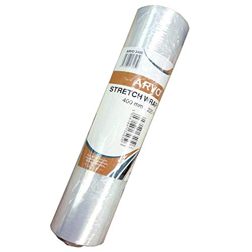 ARVO Schrumpffolie Stretchfolie 400 mm x 225 m Klare Rolle Paletten Stretchfolie Gusspaket Verpackung Frischhaltefolie (1 x Rolle)