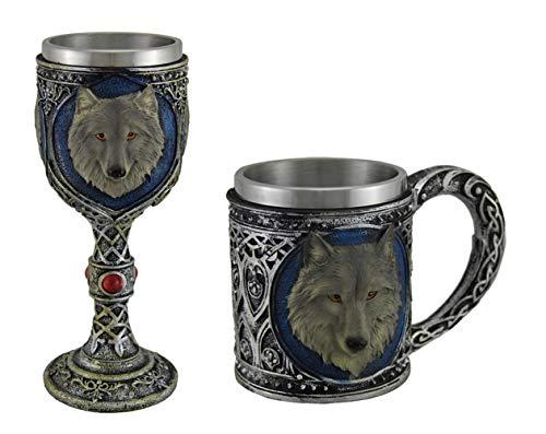 Grey Wolf Celtic Design Decorative Mug and Wine Goblet Set