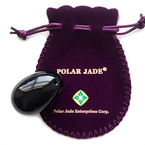 Huevo yoni, perforado, hecho de obsidiana, gema, nivel de ingreso. Accesible, Tamaño mediano más popular, Lustrado a mano, con Instrucciones, por Polar Jade.