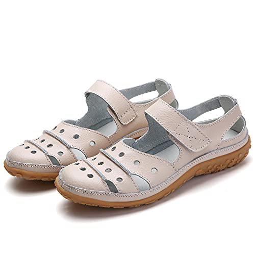 FAYHRH Zapatilla de Plataforma con cuña para Mujer,Sandalias de Gran tamaño, Zapatos de Agujero Hueco Zapatos de Madre Transpirable-Beige_35