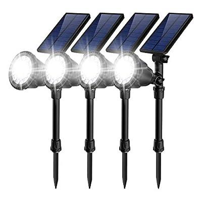 JSOT 18 LED Solar Spot Lights,2-in-1 Wireless Solar Spotlight Waterproof In-Ground Lights
