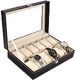 Ohuhu 12-Slot Leder Uhrenbox, Uhrenschatulle, Uhrenkasten, Schmuckschatulle, Schmuck-Uhr-Anzeigen-Speicher mit Glasplatte und 12 Removal Speicher Kissen (Brown)