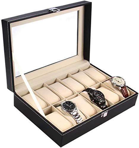 Ohuhu Uhrenbox für 12 Uhren mit Glasfenster, Uhrenschatulle Uhr Organiser - Uhren Aufbewahrung aus PU Leder und Samt (Beige)
