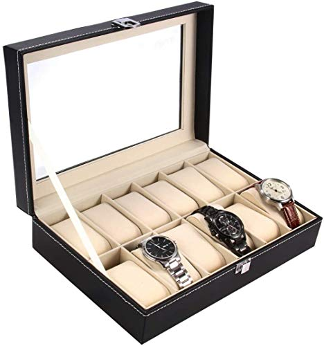 Watch Case, Ohuhu 12 Slot Watch Box PU Leather Watch Organizer Case, for Men and Women Christmas Presents Beige