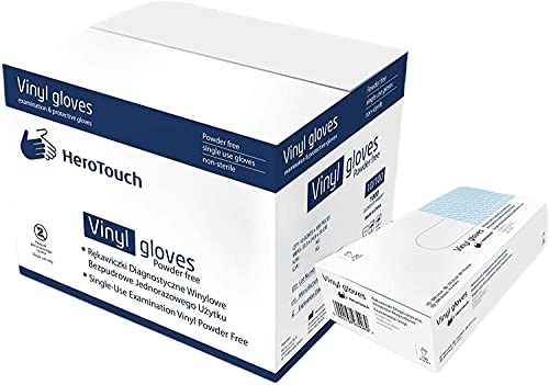HeroTouch Guanti monouso in vinile, senza polvere, 1000 pezzi, misura M, in vinile trasparente, in pratica scatola dispenser igienica, 100% vinile, 10 x 100 cm