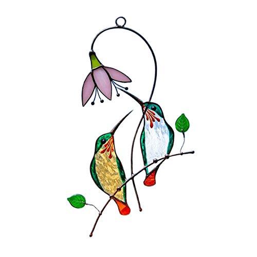 Fenteer Ventana Ornamental vidriera Colgante Suncatcher pájaro decoración colibrí Suncatcher, 7 'x 5,5' - Verde